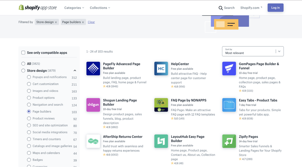 shopify apps store - store design page builders