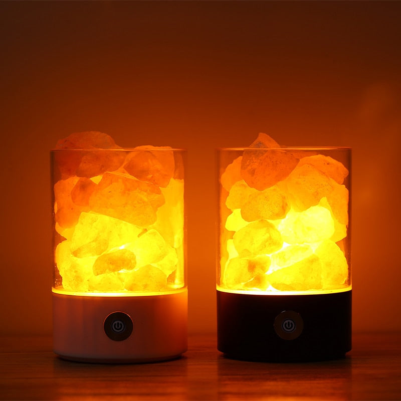 Himalayan Crystal Rock Salt Lamp - LED Air Purifier Night Light Jar - Highbrate - The Vibrate Higher Store