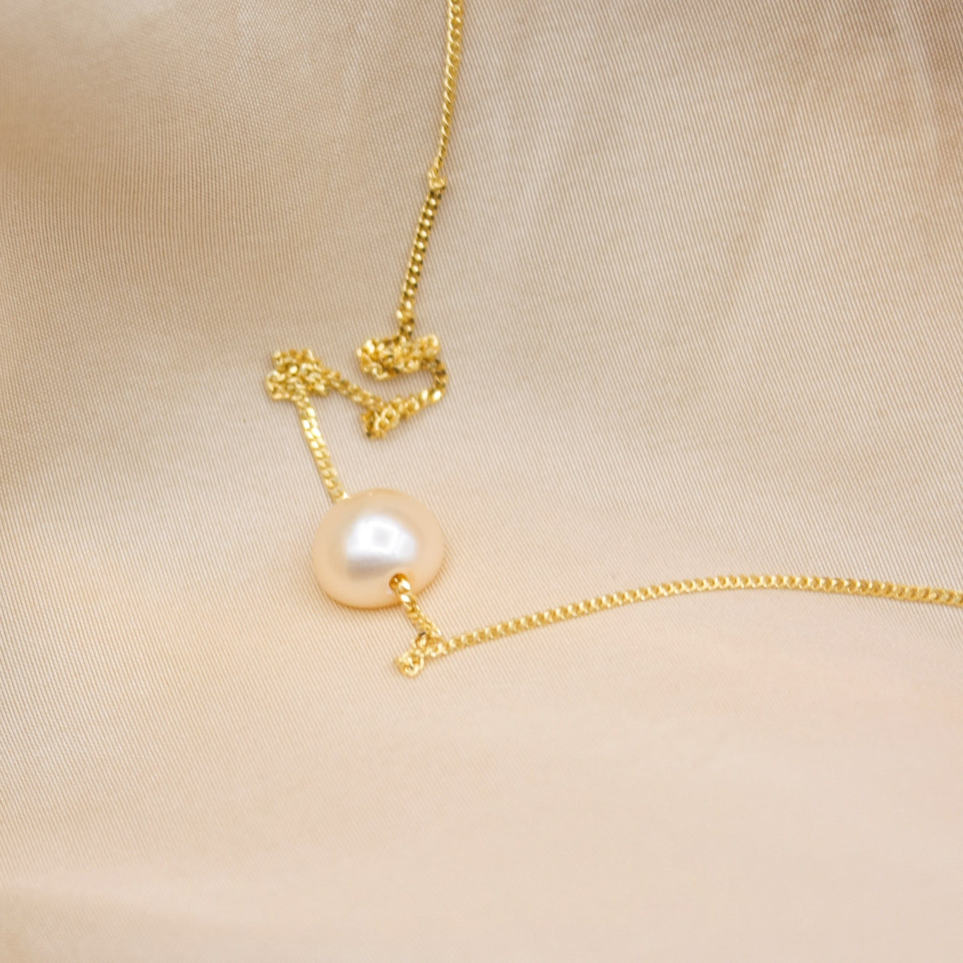 Dainty Peach Pearl Necklace Lorne Necklace - White Label Project