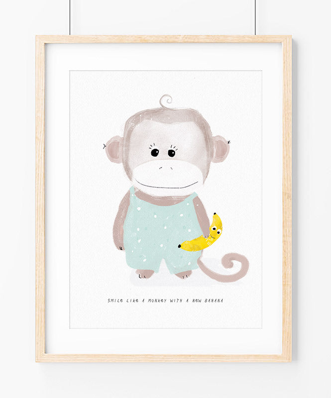 Smiley Monkey Art Print