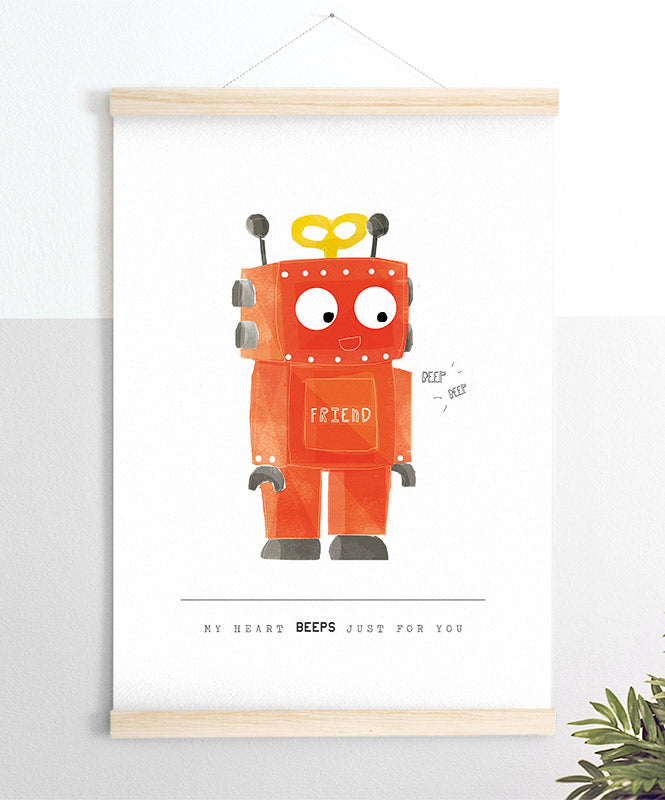 Beeps Orange Art Print