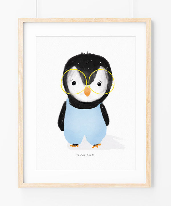 Cool Penguin in Blue Art Print