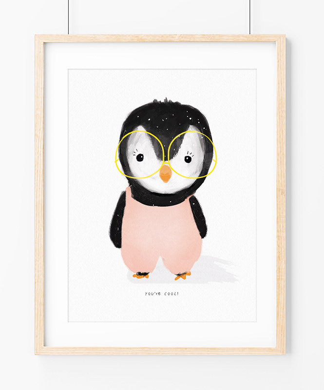 Cool Penguin in Pink Art Print
