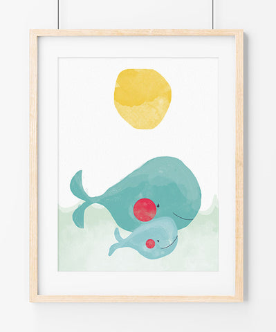 Whales (1, 2 or 3 babies) Art Print