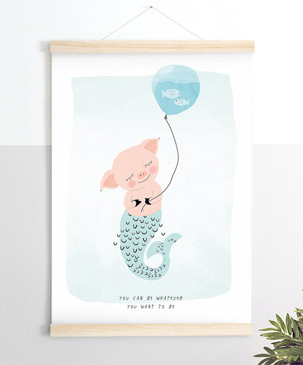 Pig Mermaid Art Print