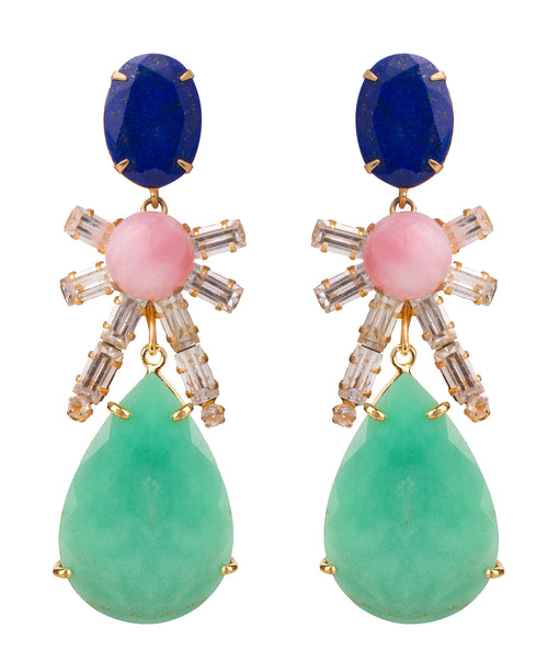 4-in-1 Malachite, Lapis & Pink Opal Earrings