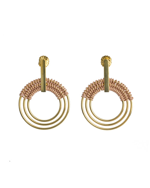Ripple Gold Plated Brass Earrings with detailed blush wire