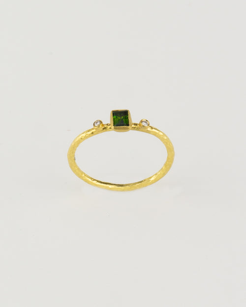 24K Gold & Green Tourmaline Ring with Diamonds