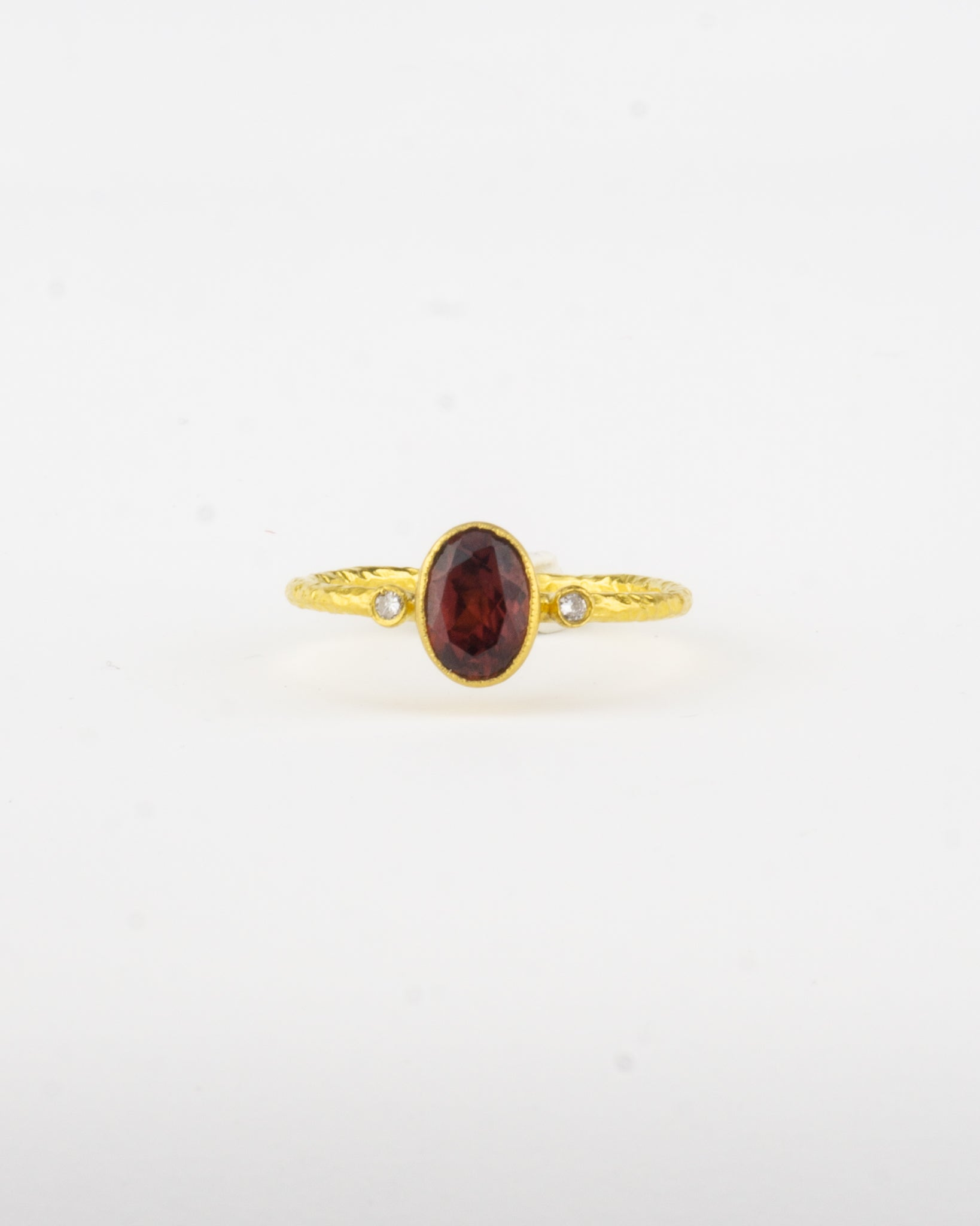 24 K Gold Red Garnet Ring with Diamonds