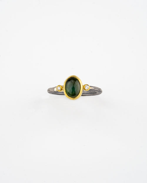 Oxidized silver & 24K Gold Green Tourmaline Ring with Diamonds