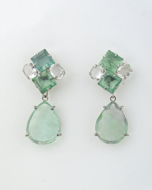 2-in-1 Clear Quartz and Green Fluorite earrings