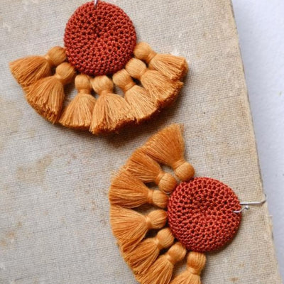 Tougana Crochet Disc Tassel Earrings Rust/Tumeric