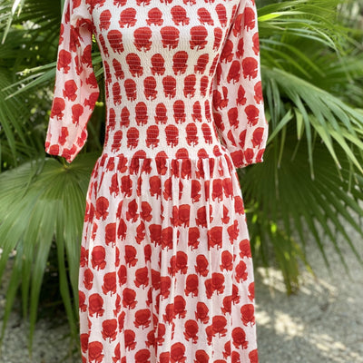 Frida Dress - White and Red