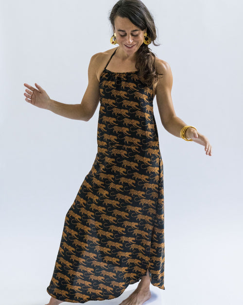 Carioca Maxi Dress - Black with White Leopard