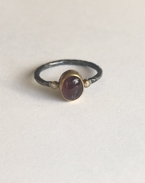 Oxidized Silver, 24K Gold & Red Tourmaline Ring with Diamonds