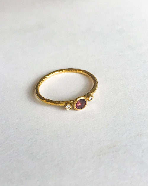 24K Gold Pink Tourmaline Ring with Diamonds