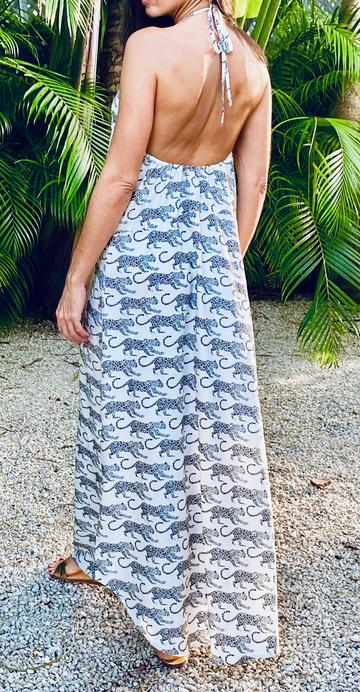Carioca Maxi Dress - White with Navy Leopard
