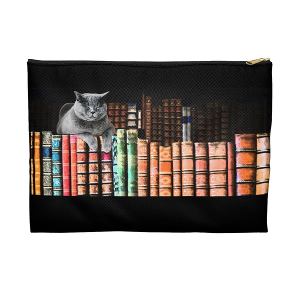 Vintage Library Cat Accessory Pouch