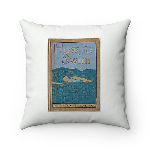 How to Swim Vintage Book Cover Square Pillow