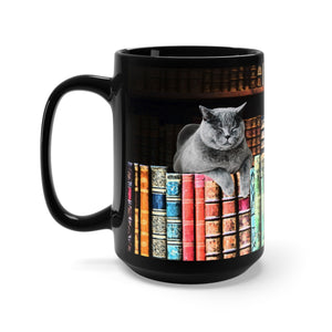 Vintage Library Cat Mug, 15 Oz Black