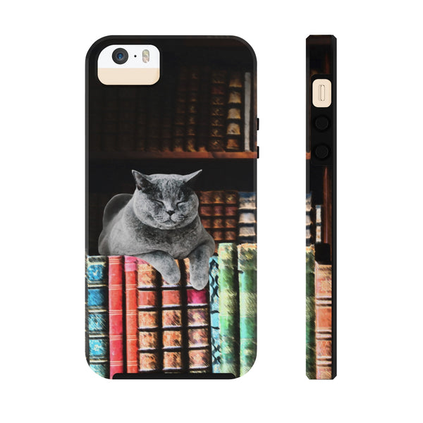 Vintage Library Cat Case Mate Tough Phone Cases