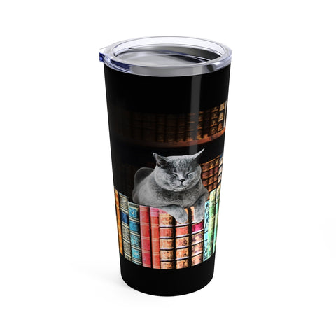 Vintage Library  Cat Travel Tumbler