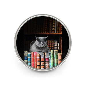 Vintage Library Cat Enamel Pin