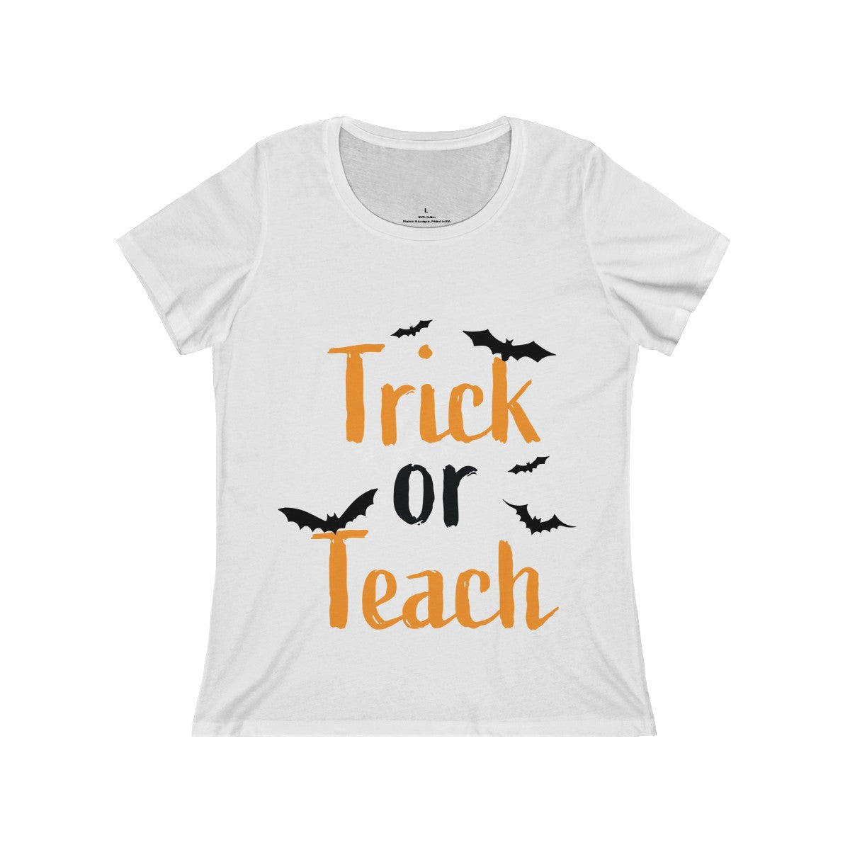 Women's Relaxed Jersey Short Sleeve Scoop Neck Tee - Trick or Teach
