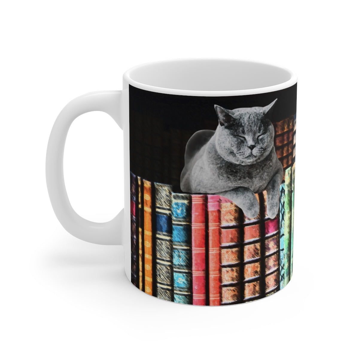Vintage Library Cat Coffee Mug