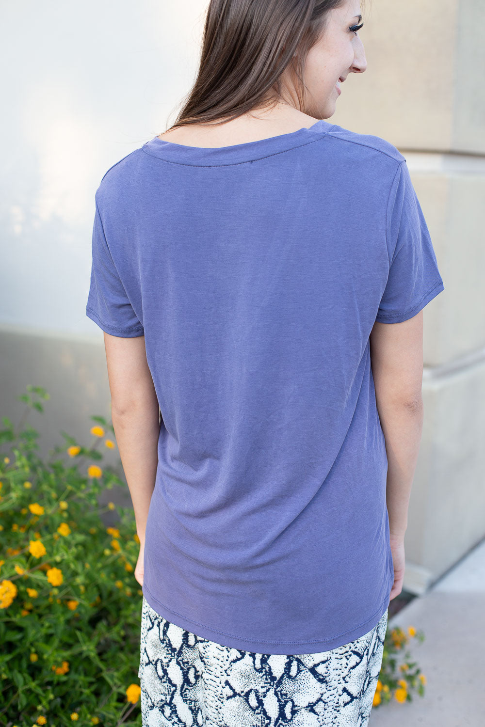 Periwinkle blue T-shirt in silky soft modal fabric with V-neck and side slits