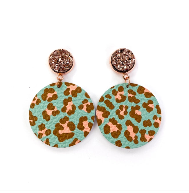 Mint Leopard Earrings