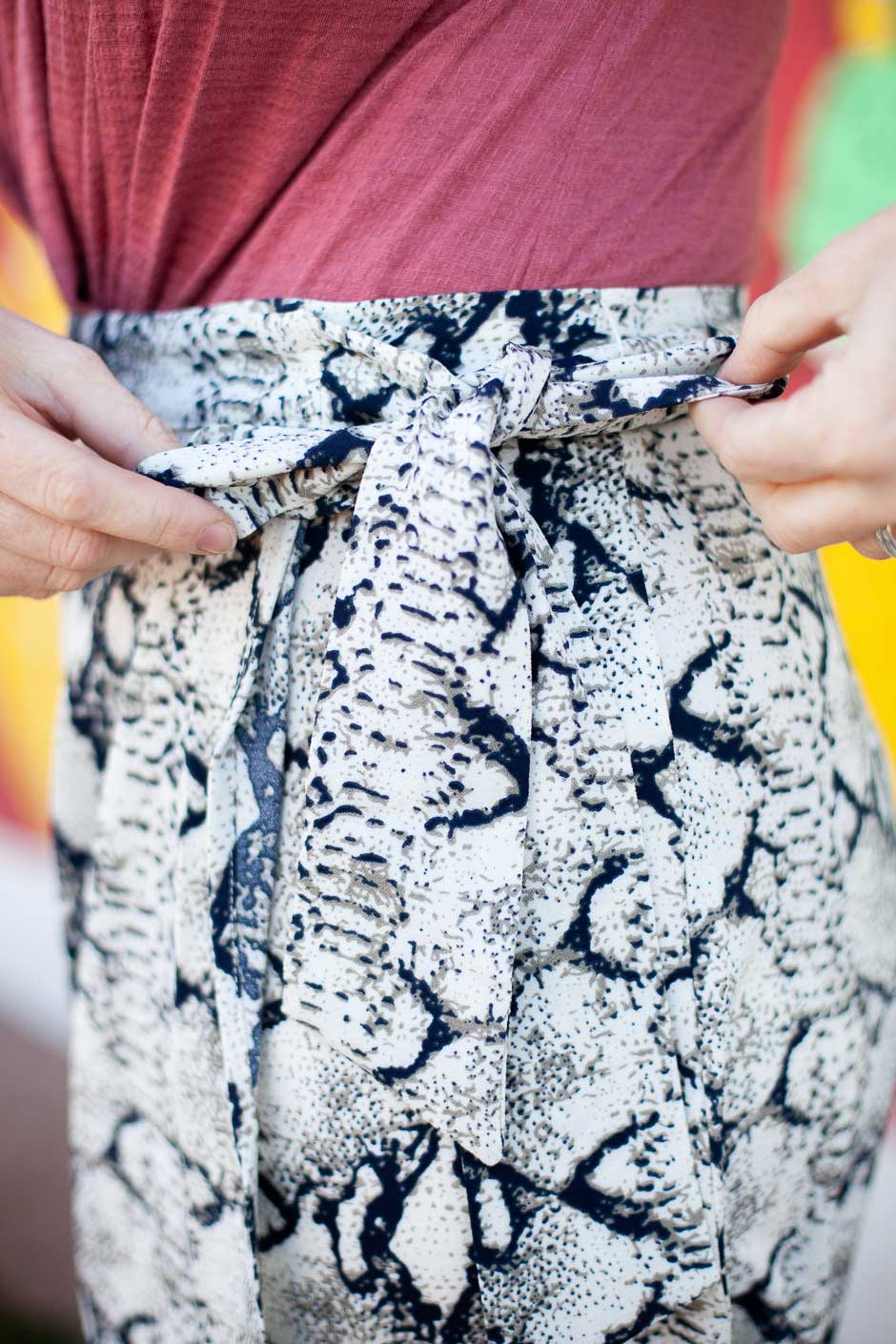 Snake print wrap skirt, midi length with a waist tie