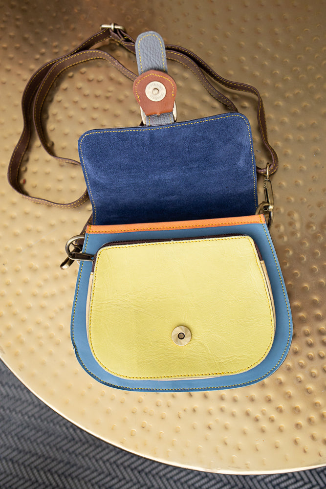Colorblock Crossbody Leather Bags