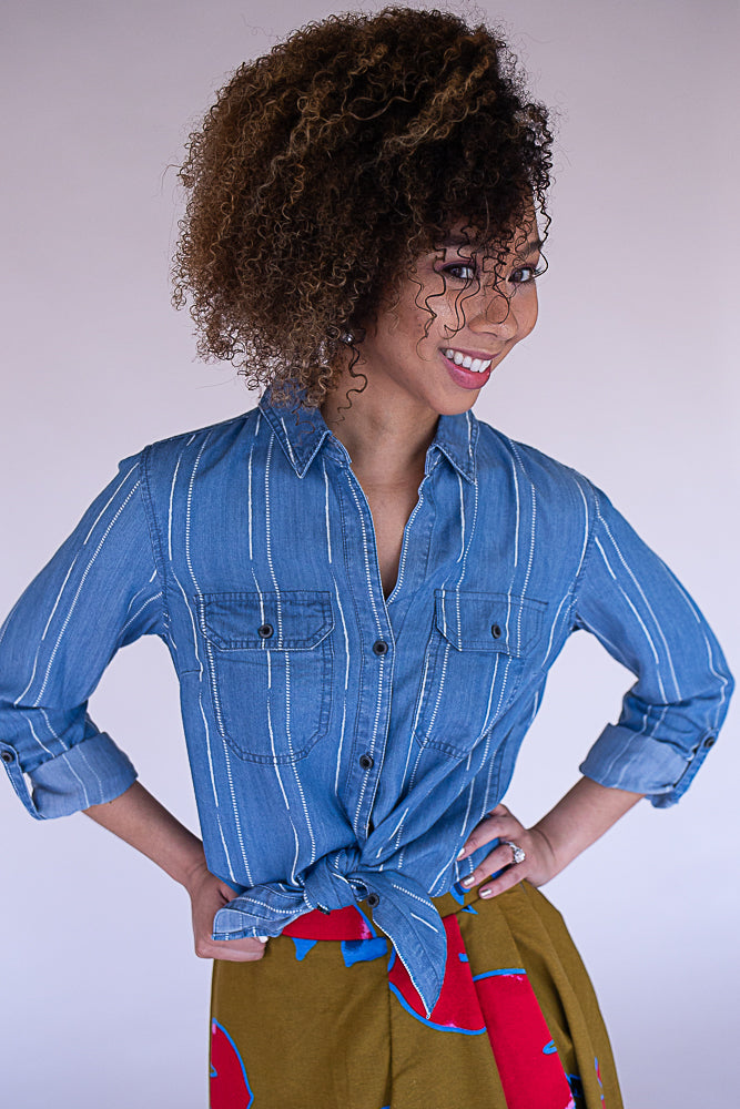 Stormy Chambray Top