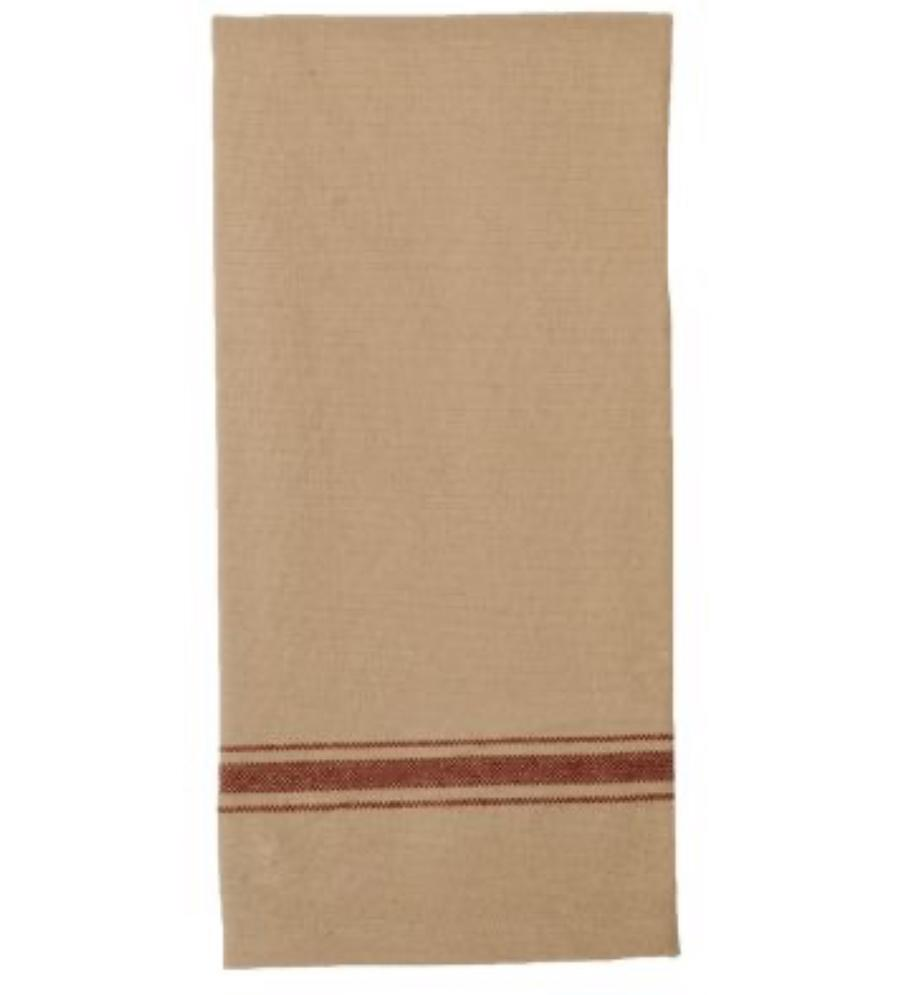 Grain Sack Towel (Barn Red Stripe)