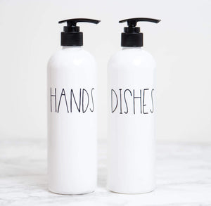 Hands and Dishes Soap Bottle Set