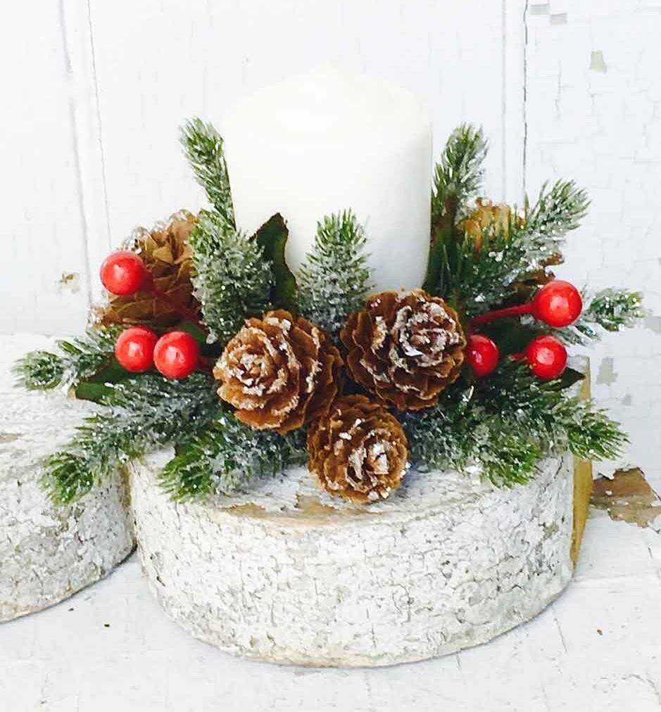 Icy Berries & Pinecone Candle Ring - Set of 2