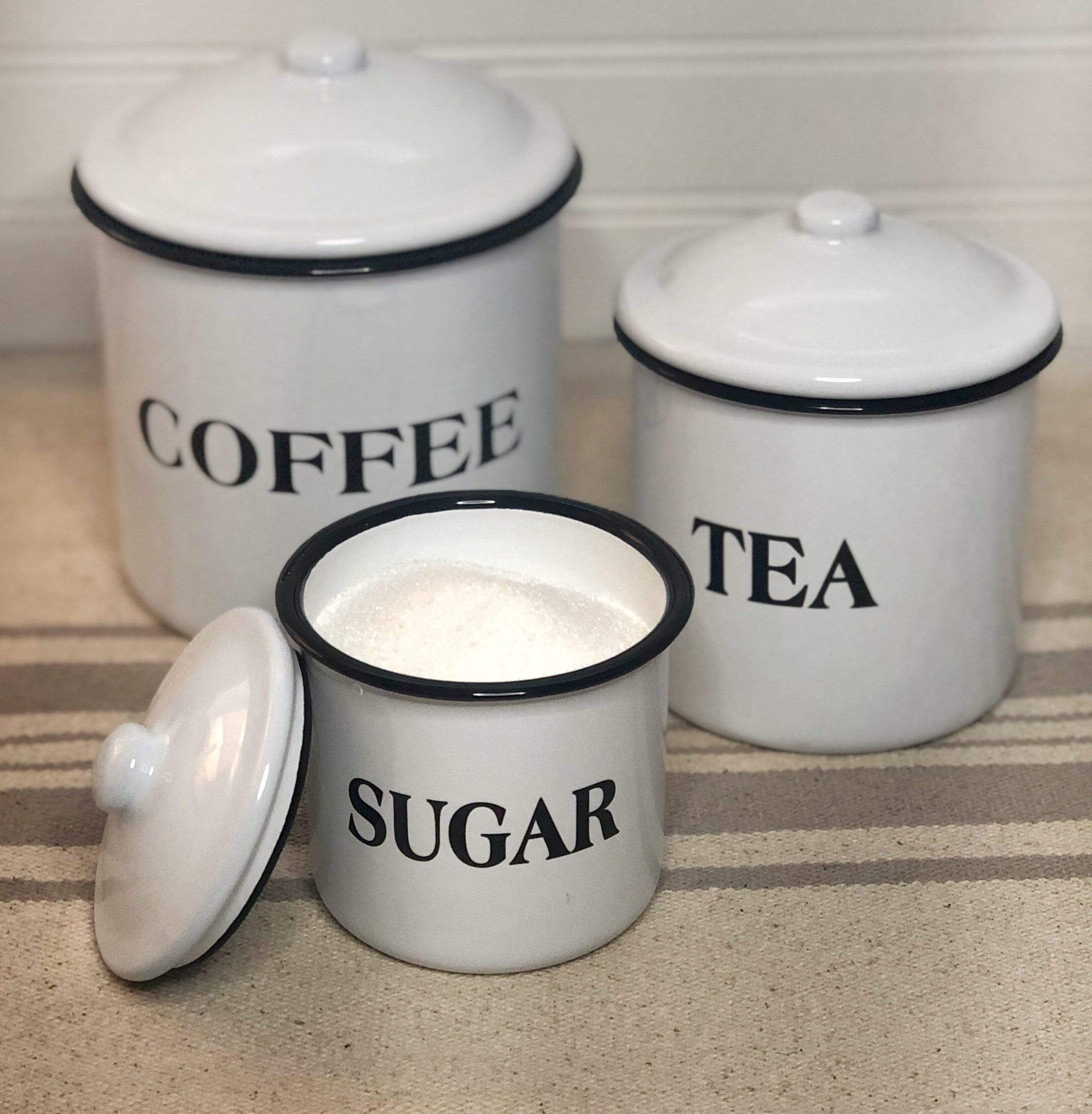White Enamel Canister Set