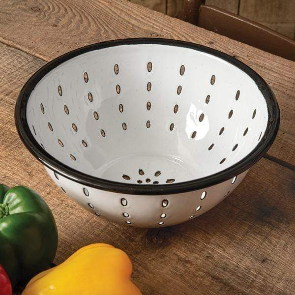 White Enamel Colander with Black Rim