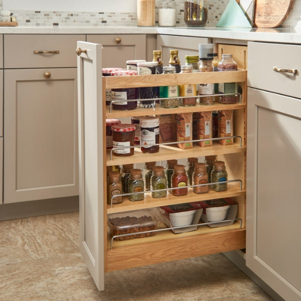 Pull out spice rack storage is one of the most requested interior cabinet products in kitchens.