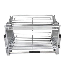 Load image into Gallery viewer, Storage kitchen pull down 2 tier wire shelf shelves steel wall unit storage organizer system cabinet for 800mm width cupboards