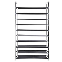 Load image into Gallery viewer, Exclusive meevrie 10 tiers shoe racks space saving non woven fabric shoe storage organizer cabinet tower for bedroom entryway hallway and closet black