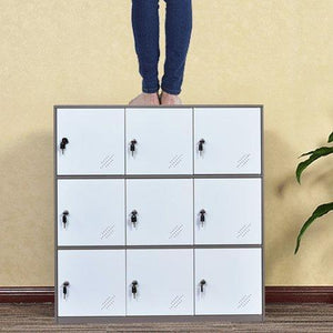 Order now 9 door metal locker office cabinet locker living room and school locker organizer home locker organizer storage for kids bedroom and office storage cabinet with doors and lock for cloth white