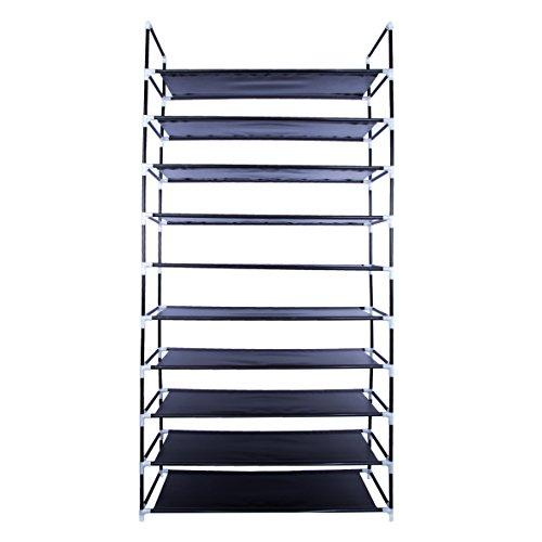 10-Tier Shoe Rack Space Saving Shoe Tower Shelf Cabinet, 50 Pairs Portable Shoe Storage Organizer, Non-Woven Fabric Shoe Rack Closet, Black
