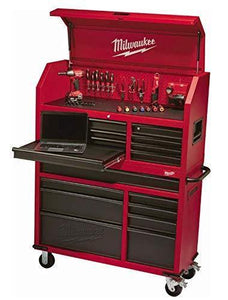 Exclusive heavy duty drawer 16 tool chest 46 in and rolling cabinet set red and black personal valuables storage drawer with separate lock in the tool chest