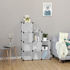 Get songmics cube storage organizer 9 cube diy plastic closet cabinet modular bookcase storage shelving with doors for bedroom living room office 36 7 l x 12 2 w x 36 7 h inches white ulpc116wsv1