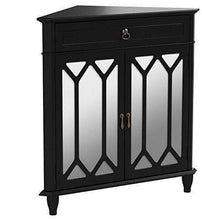 Load image into Gallery viewer, Cheap heather ann creations the dorset collection contemporary style wooden double door floor storage living room corner cabinet with hexagonal mirror inserts and 1 drawer black