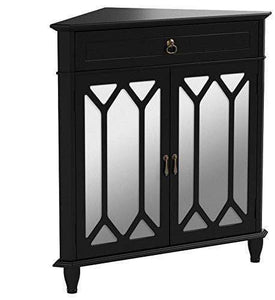 Cheap heather ann creations the dorset collection contemporary style wooden double door floor storage living room corner cabinet with hexagonal mirror inserts and 1 drawer black