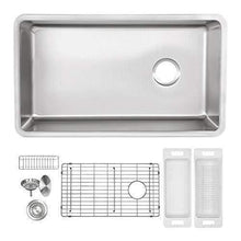 Load image into Gallery viewer, Heavy duty zuhne 32 inch under mount single bowl 16 gauge stainless steel kitchen sink with offset drain tight corners fits 36 inch cabinet