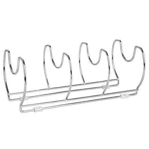 Kitchen mallize metal wire pot pan organizer rack for kitchen cabinet pantry shelves 6 slots for vertical or horizontal storage of skillets frying or sauce pans lids baking stones